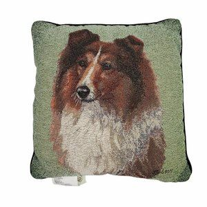 Sheltie Dog Tapestry Judy Gibson Throw Pillow